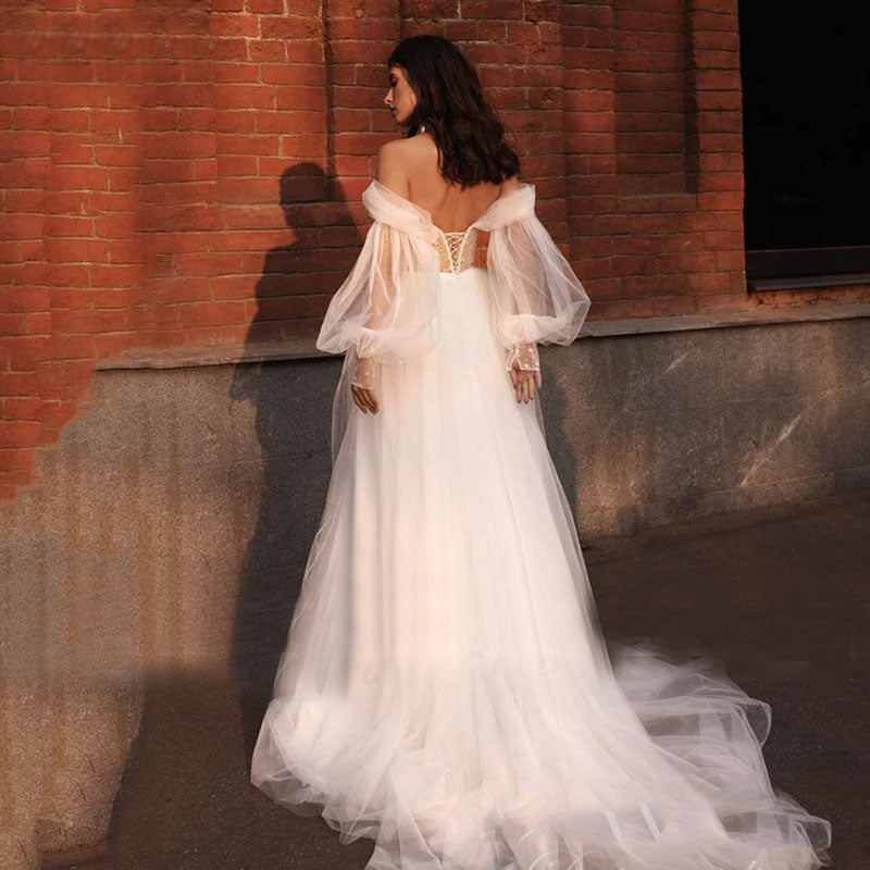 Off The Shoulder A Line Tulle Beach Wedding Dress Sweetheart Puffy Sleeves Corset Princess Wedding Gown OKW15