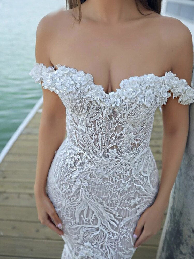 Mermaid Wedding Dresses Off Shoulder Sweetheart Lace Appliques Court Train Bride Gowns OKV26