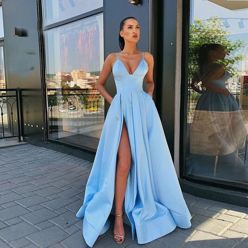 Sky Blue Long V-neck Spaghetti Straps Prom Dress Simple Satin Women Prom Gown With High Slit OKV71