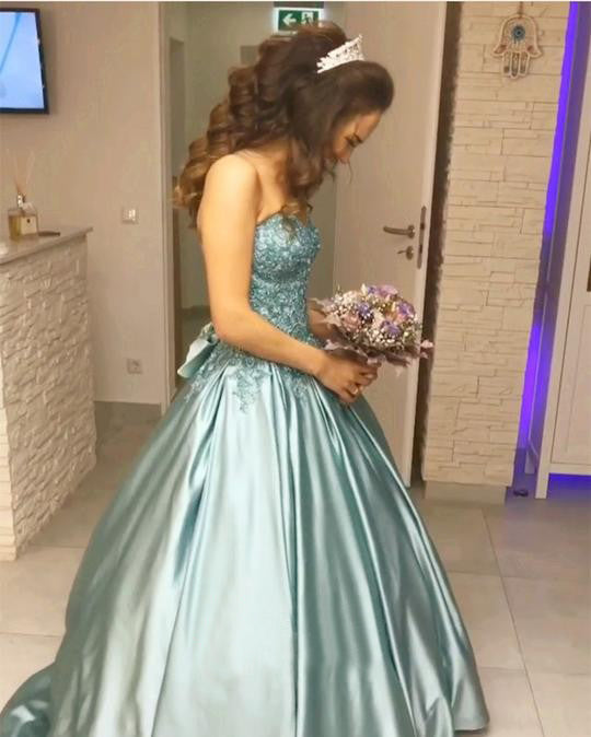 Princess Blue Beaded Sweetheart Strapless Ball Gown Long Prom Dresses OK994