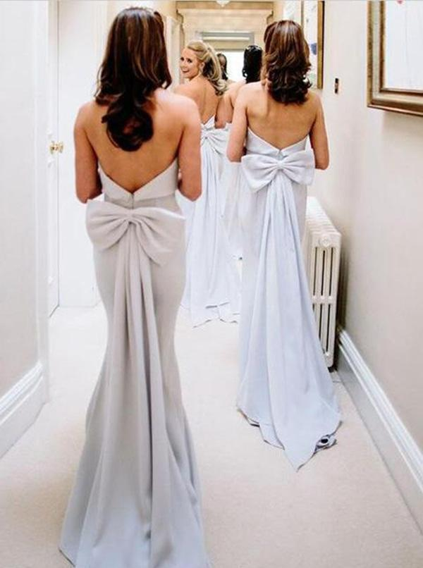 Simple Strapless Grey Satin Cheap Long Bridesmaid Dresses OKI44