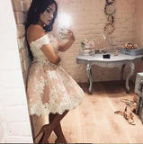 Cute A-line Off-the-shoulder Pink Short Prom Dress with Lace Appliques,Homecoming Dress OK328