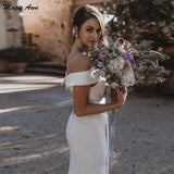Simple Beach Mermaid Wedding Dresses Off The Shoulder Bodice Boho Mariage Gowns OKV33
