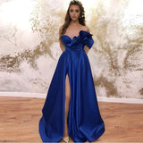 Sweetheart A-line Prom Dresses Long With Pockets Royal Blue Satin Evening Dress For Women OKW36