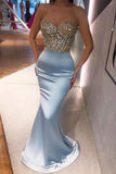 Sexy Mermaid Light Blue Strapless Beaded Evening Prom Dresses OKV50