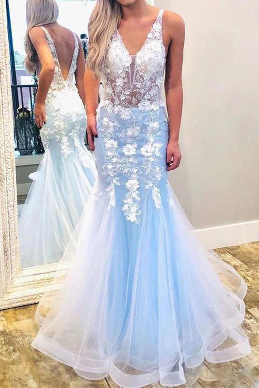 Mermaid Light Blue Tulle V Neck Long Prom Dresses With Lace Appliques OKV45