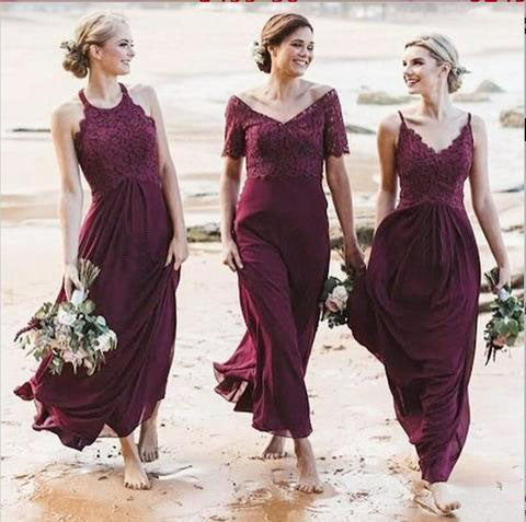 Mismatched A-Line Long Burgundy Cheap Chiffon Bridesmaid Dress with Lace OKG63