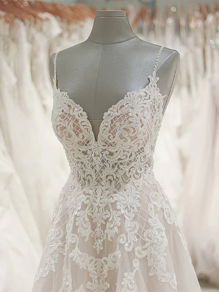 Stunning A-line Spaghetti Straps Lace Appliques Backless Wedding Dress OKU91