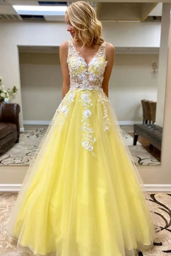 V Neck Tulle Lace Appliques Long A Line Prom Dress Yellow Formal Dress OKT52