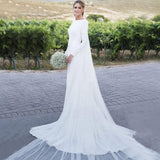 Sheath Long Sleeve Boat Neckline V Back Beach Country Wedding Gowns OKW54