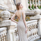 Sexy Mermaid Long Prom Dresses Spaghetti Straps Sleeveless Formal Party Gown OKW58