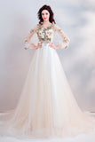Pretty A Line Long Sleeves Tulle Appliques  Prom Dresses With Flowers OKG69