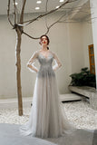 A Line V Neck Long Sleeves Tulle Sequins Grey Prom Dresses OKT28