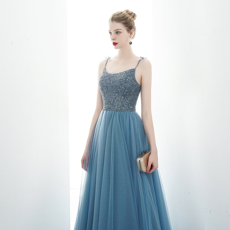 A-line Spaghetti Straps Blue Lace Up Back Beading Tulle Long Prom Dresses OKR84