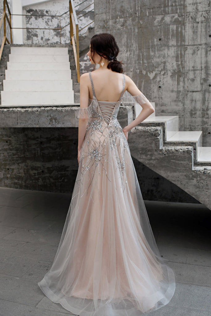 A Line Beaded Long Tulle Lace Up Back Prom Dresses OKT25