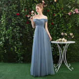 A Line Off the Shoulder Chiffon Blue Prom Dress, Long Bridesmaid Dresses OKQ82