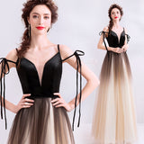 A Line Spaghetti Straps Tulle Long Prom Dress, Charming Evening Dresses OKQ70