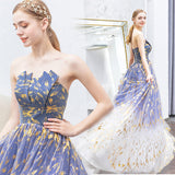 New Arrival A Line Strapless  Long Prom Dress Formal Evening Dresses OKQ72