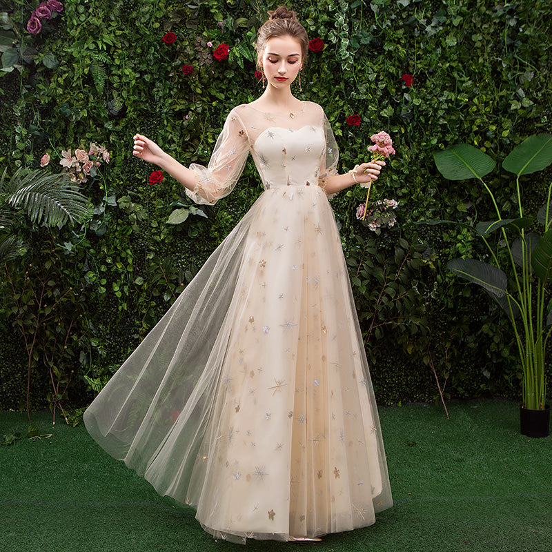 Stunning A Line 3/4 Sleeves Tulle Round Neck Prom Dress Evening Dresses OKQ76