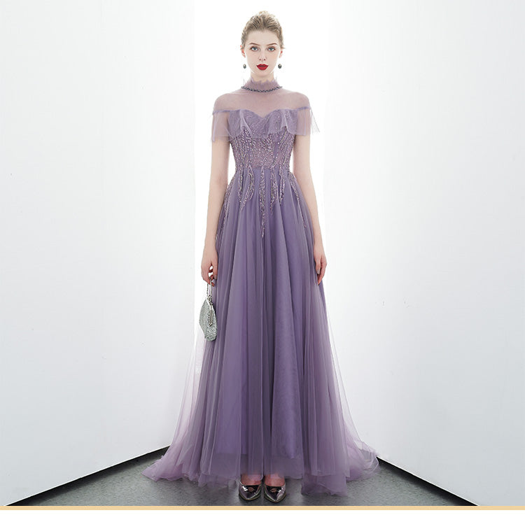 A-line Tulle Long High Neck Purple Prom Dresses With Ruffles Formal Evening Dress OKR86