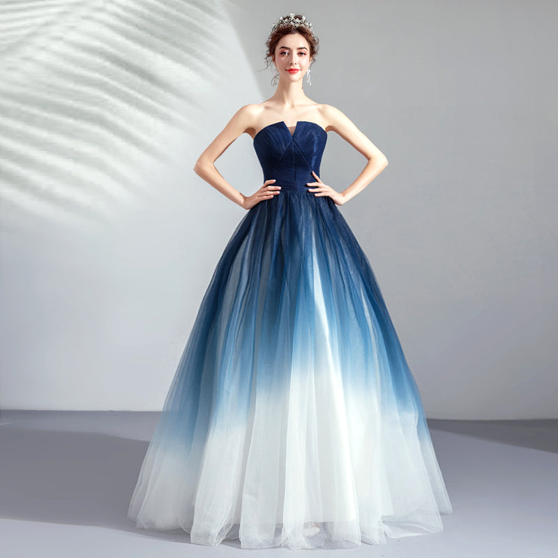 Strapless Ombre A Line  Tulle Prom Dress Long Formal Dresses OKQ74