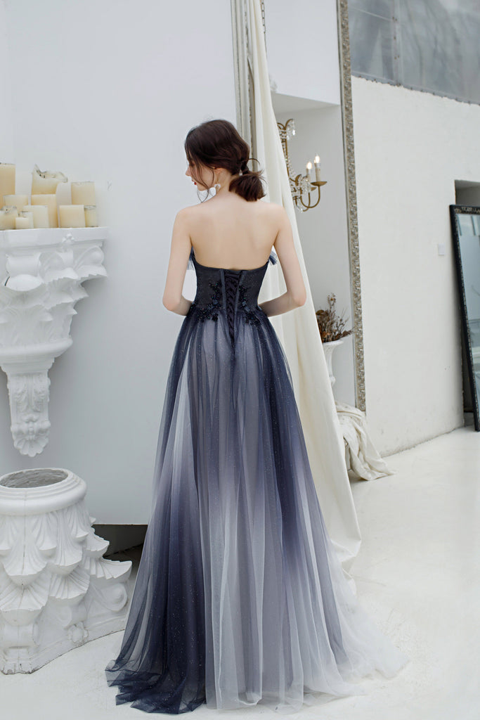 Sweetheart A Line Ombre Color Long Tulle Appliques Prom Dresses OKT27