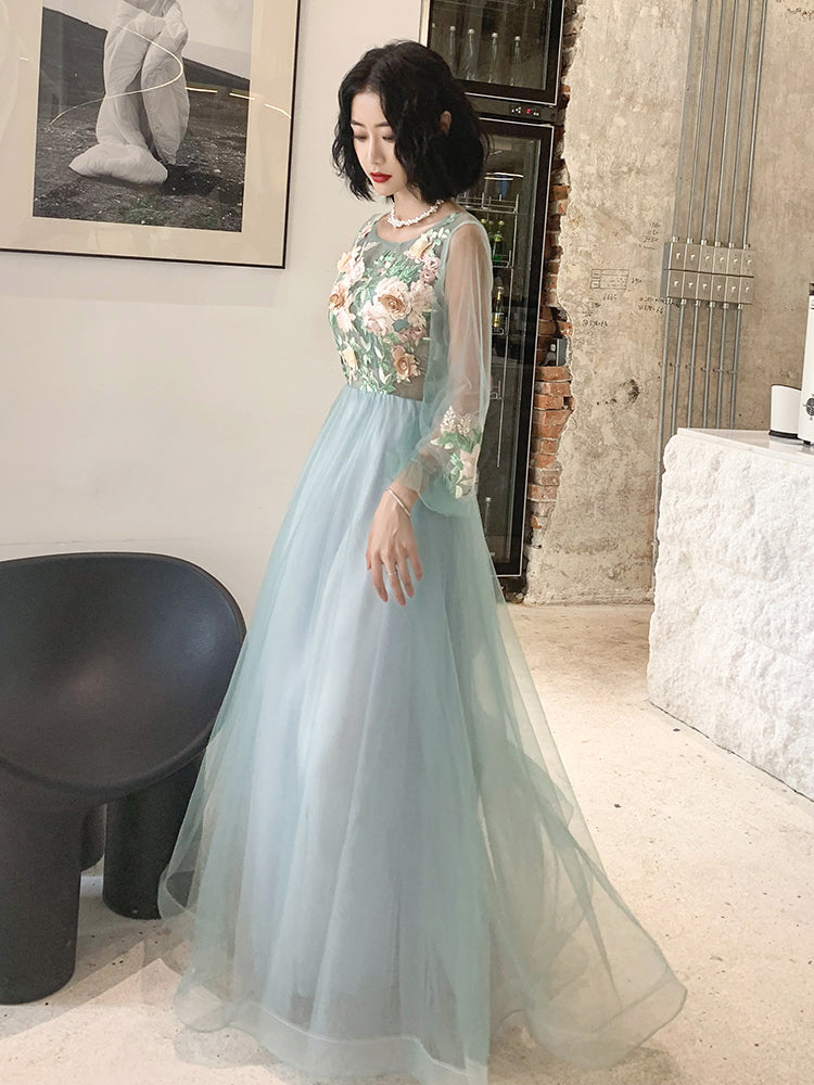 A Line Long Sleeves Round Neck Tulle Floral Appliques Prom Dresses OKQ83
