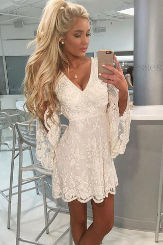 A-Line V-neck Open Back Bell Sleeves Short White Lace Homecoming Dress OKM8