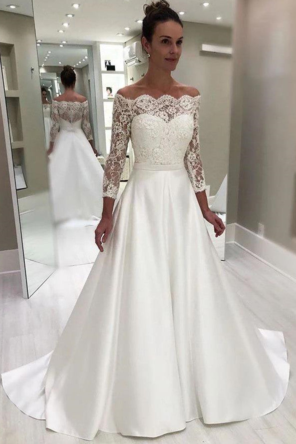 Elegant A-Line Sweetheart 3/4 Sleeves White Floor Length Prom/Wedding Dress With Lace Top OK101