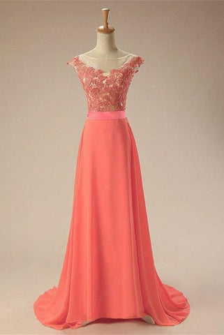 Elegant Watermelon Charming  Long Chiffon Lace Prom Dresses
