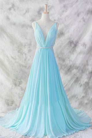 Ice Blue Simple Deep V-neck Beaded Open Back Prom Dresses OK22