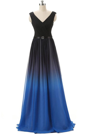 Black And Royal Blue Gradient Ombre Chiffon Back Up lace Prom Dresses K145