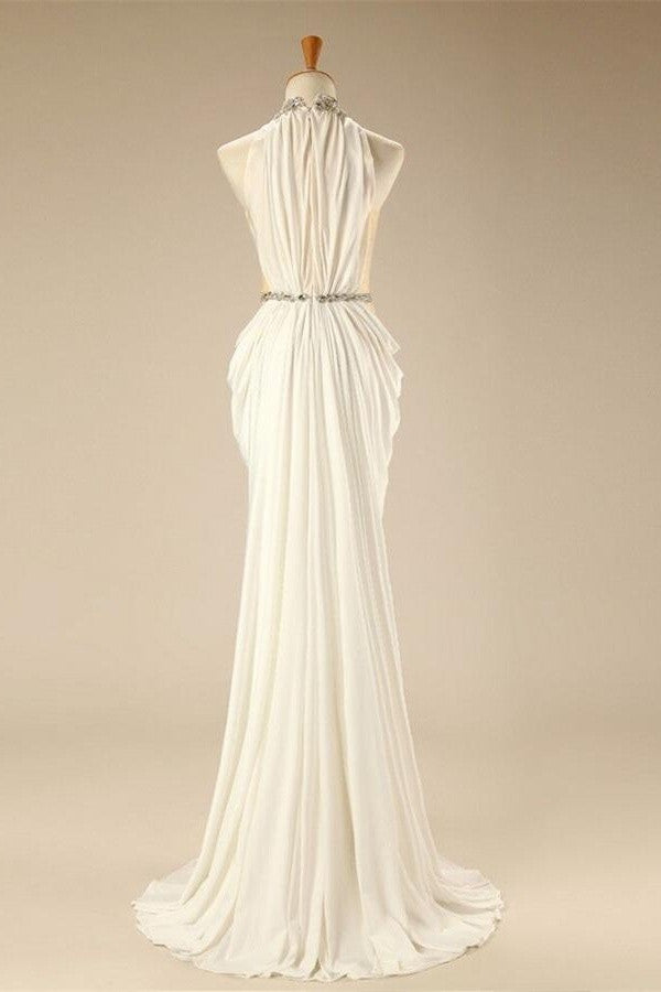Charming Elegant White Halter Beaded Chiffon Long Prom Dresses OK26