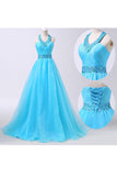 2016 Newest Ice Blue Long Chiffon Beaded Formal Prom Dresses OK29