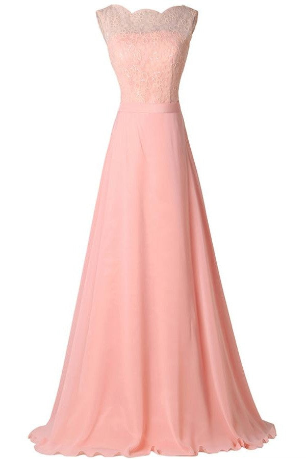 Blush Pink Lace Elegant Charming Formal Chiffon Prom Dresses OK30