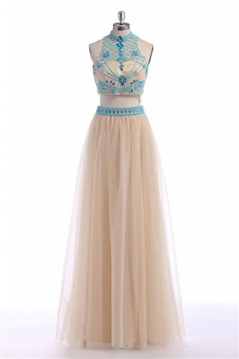 Two Pieces Halter Backless Beautiful Long Prom Dresses K40