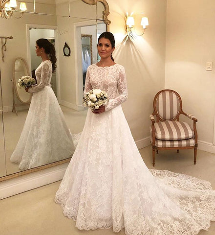 Elegant Long Sleeves Lace A-line Boat Neckline Long Bridal Dress Wedding Dresses OK907