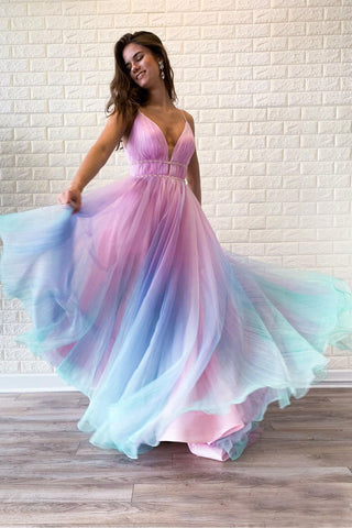 Ombre Spaghetti Straps Sleeveless A Line Prom Dress OKO83