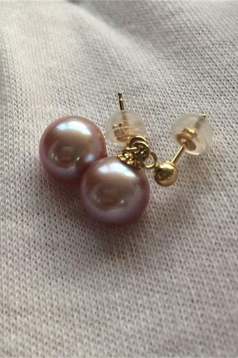 Handmade Beautiful Round Pearl Earrings with 18K Gold Posts P10