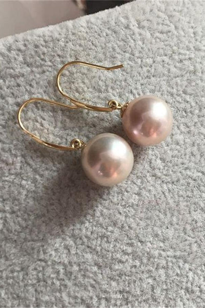 Classy Rare Color Freshwater Pearl Earrings with 18K Gold Posts P11
