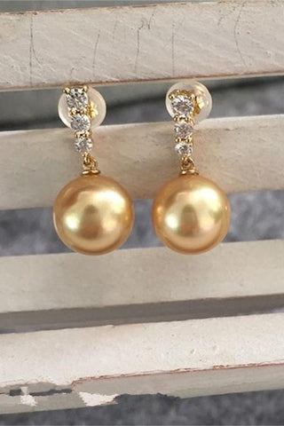 DIY Prom Gold Pearl Earrings with 18K Gold Posts and Zircons P12