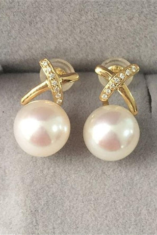 Beautiful Handmade Pearl Earrings with 18K Gold X Posts P13