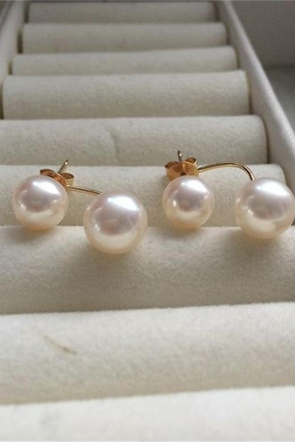 Handmade Celebrity Doublep-pearl Earrings with 18K Gold Posts P14
