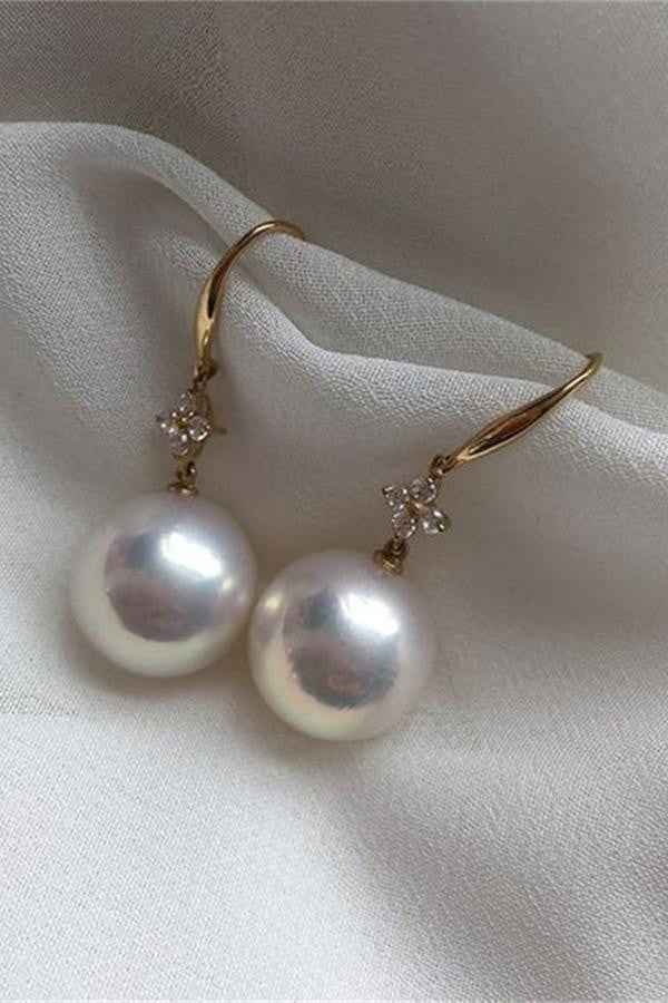 Elegant AA Quality 13-14mm Edison Pearl Dangling Earrings with 18K Gold Posts P15