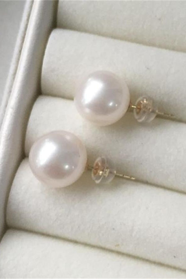 Cute Handmade10-11mm Pearl Earrings with 18K Gold Posts P16