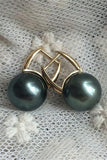 Black Beautiful AAA 10-11mm Tahitian Pearl Earrings with 18K Gold Posts P17