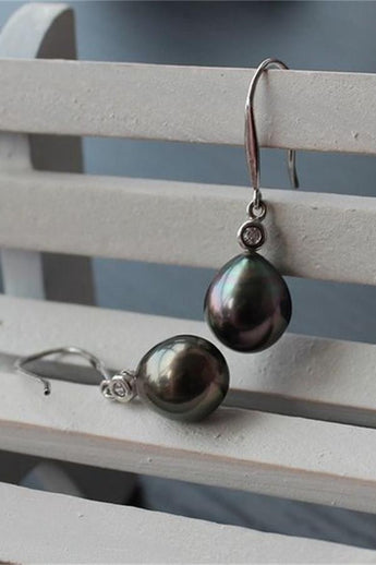 Elegant Beautiful Waterdrop Tahitian Pearl Earrings with S925 Silver Posts P18