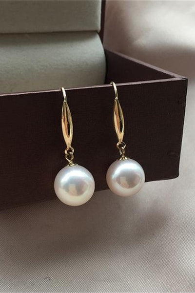 Beautiful AAAA Quality 10-11mm Freshwater Cultured Pearl Dangle Girl Earrings with 18K Gold Posts  P2