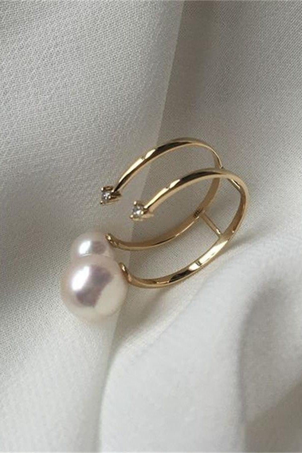 Handmade Double Pearl Ring with 18K Band and Transparent Zircon P21