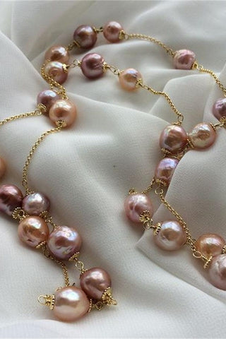 Elegant Beautiful Handmade Baroque 15-16mm Freshwater Pearl Necklace P22